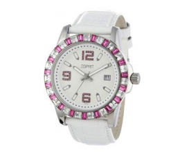 ESPRIT Spark Pink Crystal White Leather Strap ES103342007