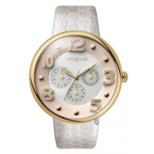 Vogue Ladies Dome Multifunction White Leather Strap 17024.2