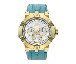 VOGUE Elegance Multifunction Two Tone Gold Plated Leather Strap 16001.11