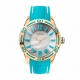 BREEZE Miami Twist Rose Gold Light Blue Rubber Strap Ρολόι 110191.1