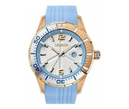 BREEZE Catwalk Rose Gold Light Blue Rubber Strap Ρολόι 110201.6