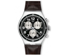 Swatch Men's Quartz Watch New Irony Chrono Browned YVS400 with Leather Strap
