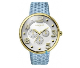 VOGUE Dome Multifunction Gold Blue Leather Strap 202017024.4